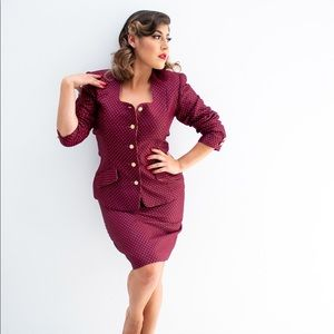 Vintage Polka-Dot Skirt Suit